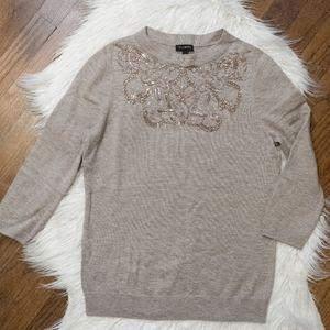 Talbots Lambswool Blend Beaded Tan Sweater